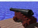 Picture of mounted 32 pound long gun sitting on a dock